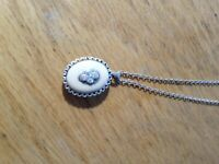 small vintage silver locket necklace charm