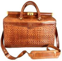 HARTMANN by Lombardo Woven Walnut Leather Vintage Authentic Briefcase Messenger