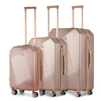 3PCS Hard Shell PCABS Suitcase 4 Wheel Travel Luggage Trolley Lightweight Case