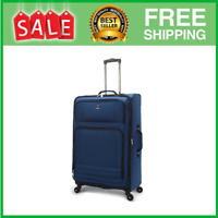 28quot; Checked Elliptic 4 wheel Spinner Luggage Blue
