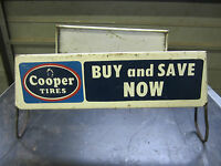 Vintage COOPER TIRES Store Display Sign - double signs Auto Gas Oil advertising