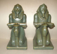 Rare Antique Fulper pottery Ramses Pharaoh Bookends