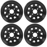 4 ATV/UTV Wheels Set 12in ITP Delta Steel Black 4/156 4+3 POL