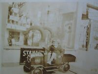 ANTIQUE WOLF#x27;S HEAD SIGN OIL GULF TEXACO GAS GLOBE ARMSTRONG TIRE TOY CAR PHOTO