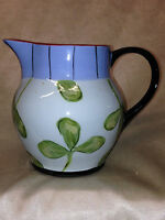 DROLL DESIGNS POTTERY CREAMER PITCHER 20 OZ LIGHT BLUE WITH GREEN LEAVES