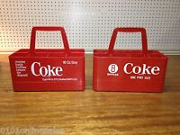 2 Advertising Coke Coca-Cola RED Plastic 8 Bottle Carriers ~ One w/8 Ball Logo!