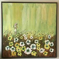 Whimsical Oil on Canvas Paiting of Young Girl in a Prairie by Artist Leone $225.00
