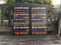 Personalized Halloween Sign, Welcome, Haunted House CANVAS, Custom