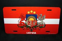 LATVIA FLAG METAL NOVELTY LICENSE PLATE TAG FOR CARS WITH COAT OF ARMS