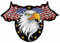 Patriotic American Flags, Eagle, Stars Embroidered Biker Patch FREE SHIP
