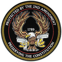 Patriotic Protected By The 2nd Amendment Embroidered Biker Patch FREE SHIP