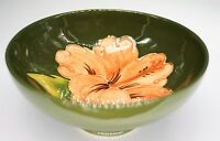 Moorcroft Art Pottery England Hibiscus Green Footed Bowl