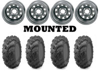 Kit 4 Maxxis Zilla Tires 28x10-12 on ITP Delta Steel Silver Wheels WCT