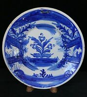 ENGLISH DELFT CHARGER Blue & White DEEP FORM PLATE, 11.8 Inches, c.18th Century