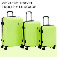 3PCS Carry On Travel Luggage Set Bag Trolley Spinner Suitcase with Lock Green
