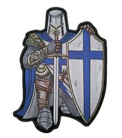 Christian Blue and White Crusader Knight Patch FREE SHIP