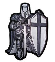 Christian Silver and White Crusader Knight Patch FREE SHIP
