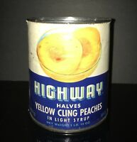 ART DECO! 1940's Highway Yellow Cling Peaches Tin Can!