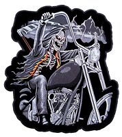 Large Grim Reaper Riding Motorcycle Flames Lightning Embroidered Biker Patch
