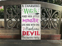 Halloween Sign Witch, Handsome Devil, Monsters, Personalized CANVAS, SPOOKY CUTE