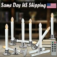 LED Tapers Pillar Candle Window Flameless Light w/ Remote Timer Battery-operated