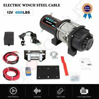 Offroad 4500LB Winch ATV UTE 12V Electric Remote Waterproof Boat Steel Cable