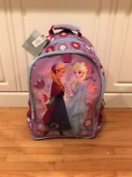 Disney Store Frozen Anna and Elsa Backpack Rolling Luggage Suitcase Bag