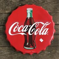 "COCA-COLA Large Bottle Cap Vintage Tin Metal Sign, 24"" Diameter"