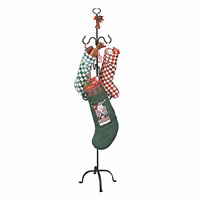 Christmas Stocking Holder Free Standing Wrought Iron 6 Hanger Hooks With Heart