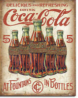 At Fountains In Bottles Coca-Cola, Coke, Soda Fountain Soft Drink Metal Sign