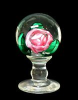19th Century New England Glass Millville NJ Rose Paperweight Mantel Ornament