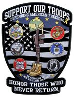 Support Our Troops Large Military Veteran POW-MIA Patriotic Biker Patch