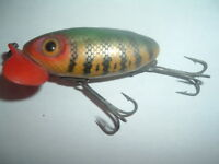 Vintage Fred Arbogast Jitterbug Red Plastic Lip bent crooked body perch pattern