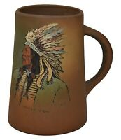 Weller Pottery Dickens Ware Native American White Tail Mug (Dautherty)