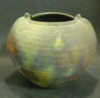Beautiful Vintage Volcanic? Pot / Planter Glazed Inside Signed Wembug Excellent