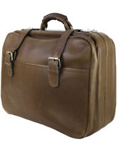 Vintage Bison Buffalo Leather Small Suitcase Brown Taupe Leather Keys Included