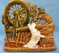 USA McCoy Pottery Planter Vase Terrier Dog & Cat Spinning Wheel Green Brown