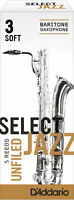 D'Addario 5 PACK Select Jazz Baritone Saxophone Reeds 3S 3 Soft Strength Unfiled