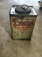 ANTIQUE POLARINE TRANSMISSION LUBRICANT EARLY TIN LITHO GAS OIL STATION CAN OLD