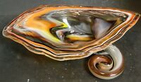 Vintage Abstract Orange Brown Yellow Murano Art Glass Cornucopia Bowl Excellent