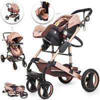 Luxury Baby Stroller 3 In 1 Pushchair Foldable Buggy Infant Travel With Car Seat