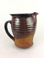 Hand Thrown Pottery Pitcher Stoneware Brown Drip Glaze Large Rustic 6.5