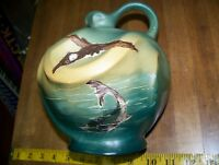 RARE Weller Pottery Dickens Ware Mallard Flying Over Fish Jug Artist Signed