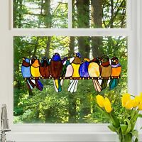 Stained Glass Window Panel Singing Birds Tiffany Style Kitchen Wire 9.25in H NEW