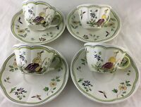 VINTAGE FRENCH PROVINCIAL POTTERY HAND PAINTED LONGCHAMP CUP SAUCER SET 8 PC