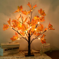 24 LED Lighted Tabletop Fall Maple Tree With Warm White LED Lights Xmas Decor