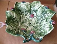 Portugal Majolica Leaves Berries Perforated Berry Bowl 11