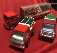 Lot of Coke Coca Cola Toys Truck & Trailer w/ bottles 2 Pickup Cases Dolly 1 Man