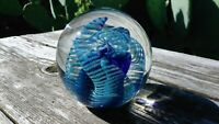 Eickholt 1982 Signed Art Glass Paperweight Iridescent Clear Blue 3