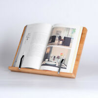 Bamboo Book Stand Large Book Holder W/Adjustable Foldable Tray US Stock